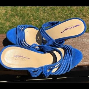 J. Crew Shoes - J. Crew 'Bette' blue suede strappy wedge sandals
